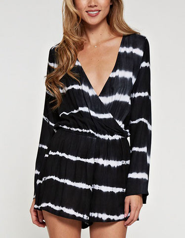 Wrap Me Up Tie Dye Romper in Black