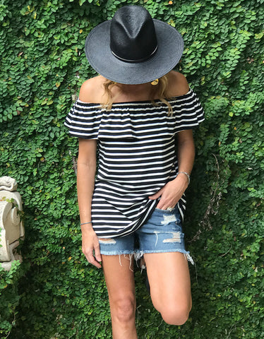 Jailbreak Striped Off The Shoulder Top
