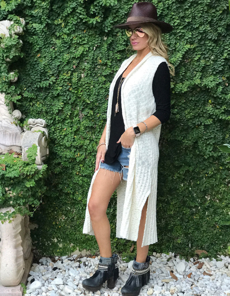Luxe Sweater Vest in Cream