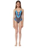 Mara Hoffman Samba Criss Cross Front One Piece in Black Blue - SWANK - Swimwear - 1
