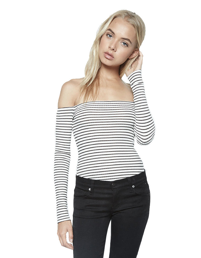 Michael Lauren Santorini Open Shoulder L/S Body Shaper Top in Creme Stripe - SWANK - Tops - 1