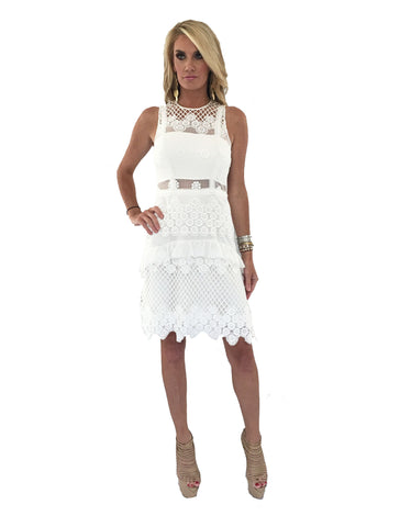 Alexis Saria Dress in White Embroidery