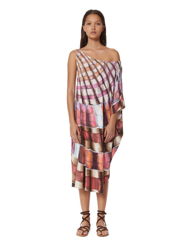 Mara Hoffman One Shoulder Dashiki in Shells Flamingo