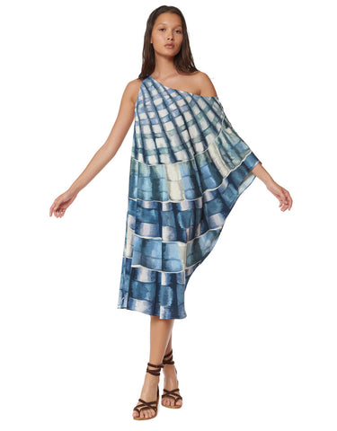 Mara Hoffman One Shoulder Dashiki in Shells Marine