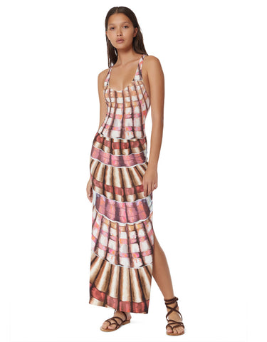 Mara Hoffman Racerback Maxi Dress in Shells Flamingo