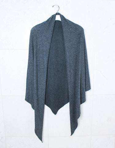Michael Lauren Texas Fringe Wrap Sweater in Heather Grey