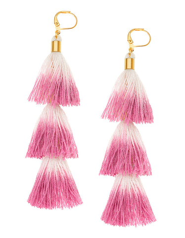 Unicorn Tears Fringe Tassel Earrings in Fuchsia