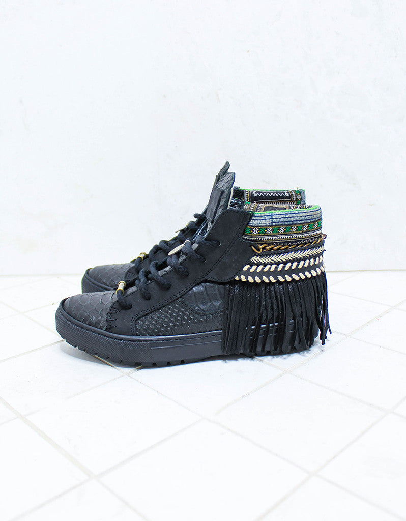 Custom Made Boho Sneakers in Black Snake | SIZE 38 - SWANK -  - 4