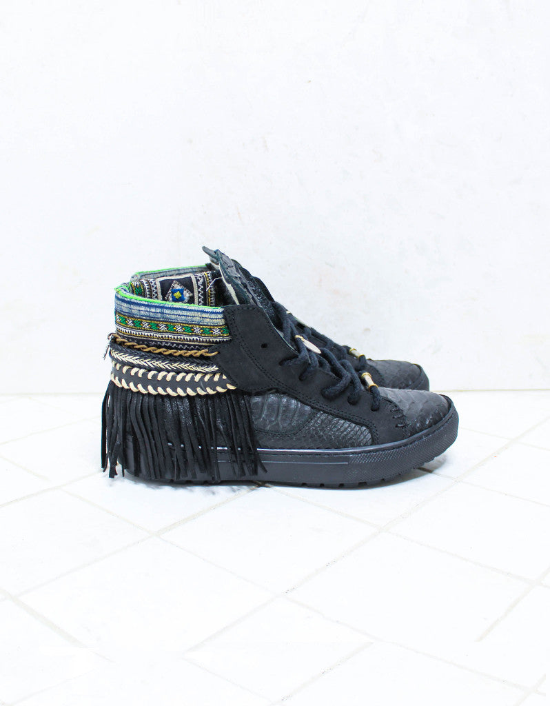 Custom Made Boho Sneakers in Black Snake | SIZE 38 - SWANK -  - 1