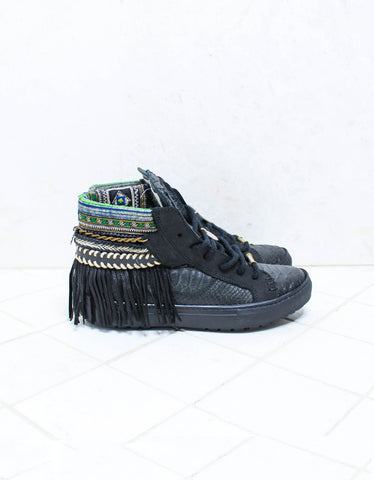 Custom Made Boho Sneakers in Black Snake | SIZE 38