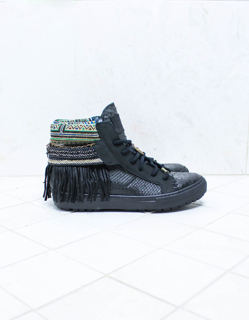 Custom Made Boho Sneakers in Black Snake | SIZE 41 - SWANK - Shoes - 1
