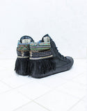 Custom Made Boho Sneakers in Black Snake | SIZE 41 - SWANK - Shoes - 2