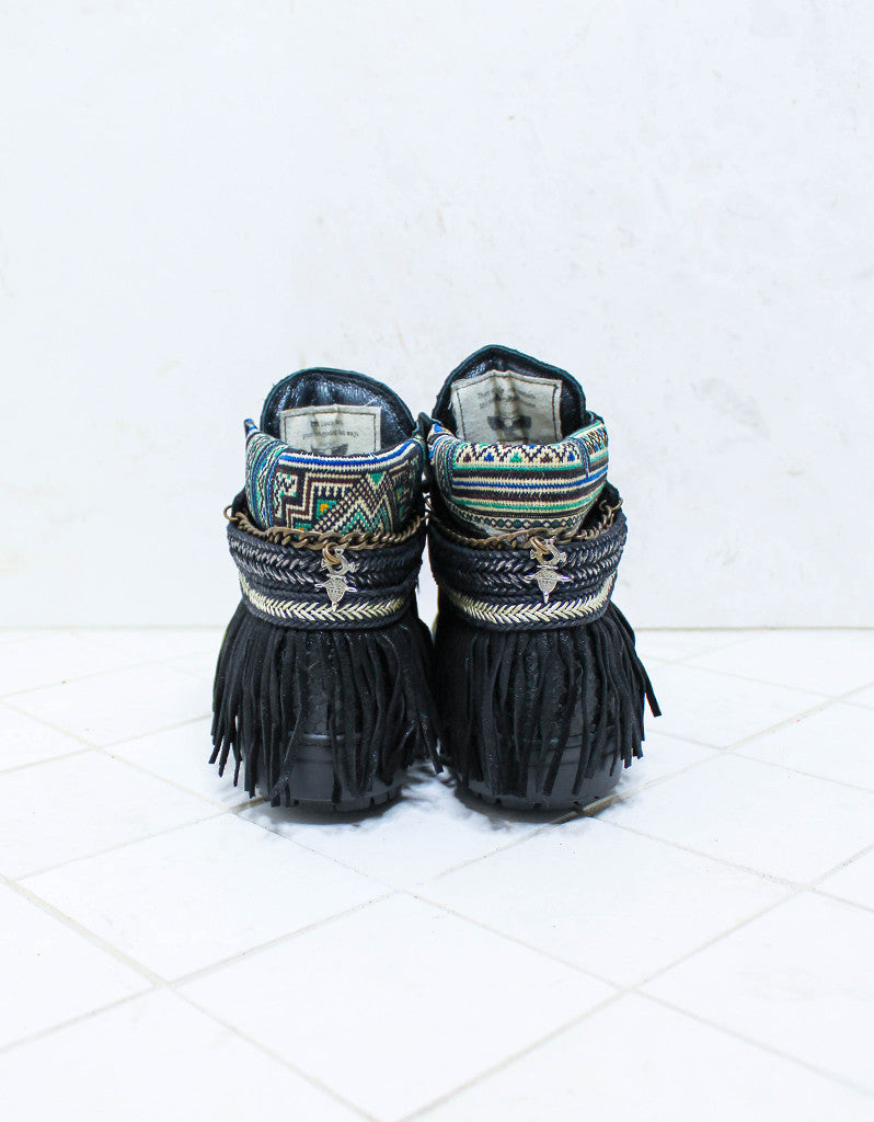 Custom Made Boho Sneakers in Black Snake | SIZE 41 - SWANK - Shoes - 4