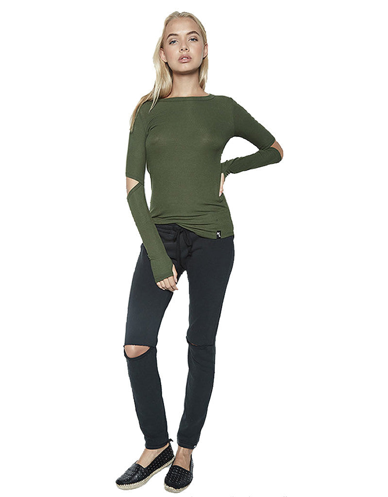 Michael Lauren Solomon L/S Fitted Top w/Elbow Slits in Military - SWANK - Tops - 1