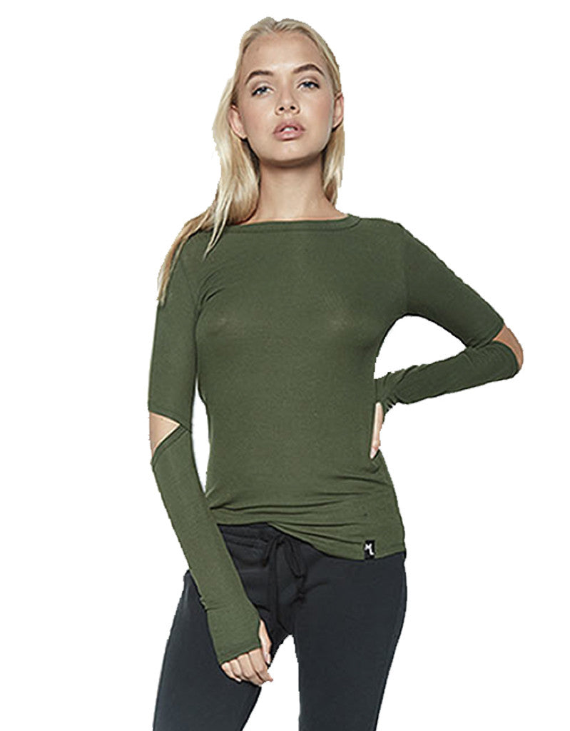 Michael Lauren Solomon L/S Fitted Top w/Elbow Slits in Military - SWANK - Tops - 2