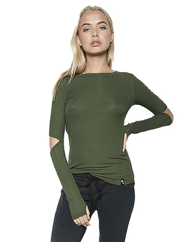 Michael Lauren Solomon L/S Fitted Top w/Elbow Slits in Military
