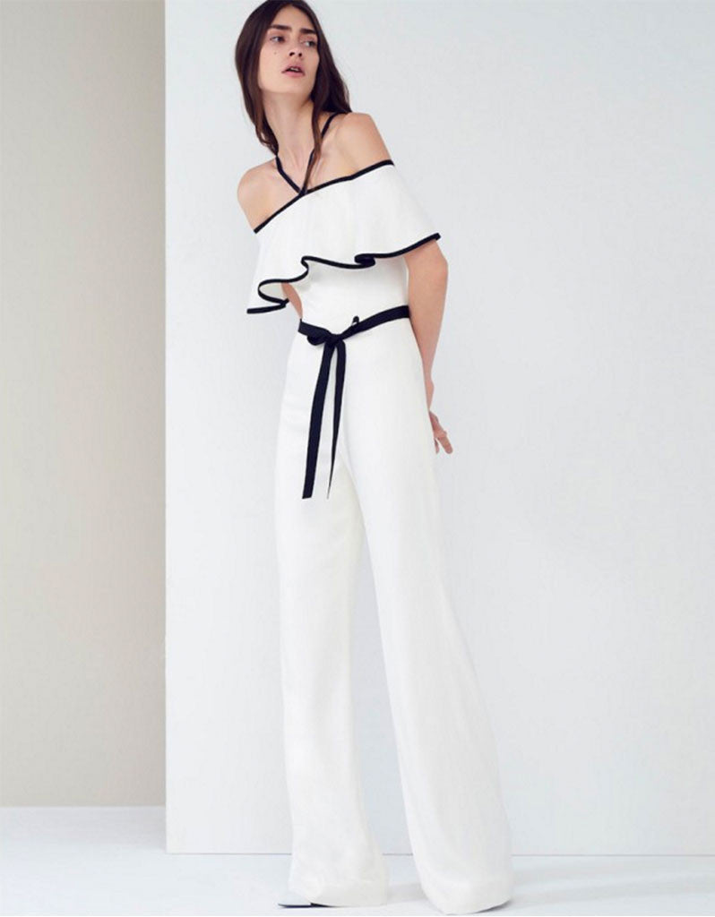 Alexis Spencer Jumpsuit in Vanilla - SWANK - Jumpsuits - 1