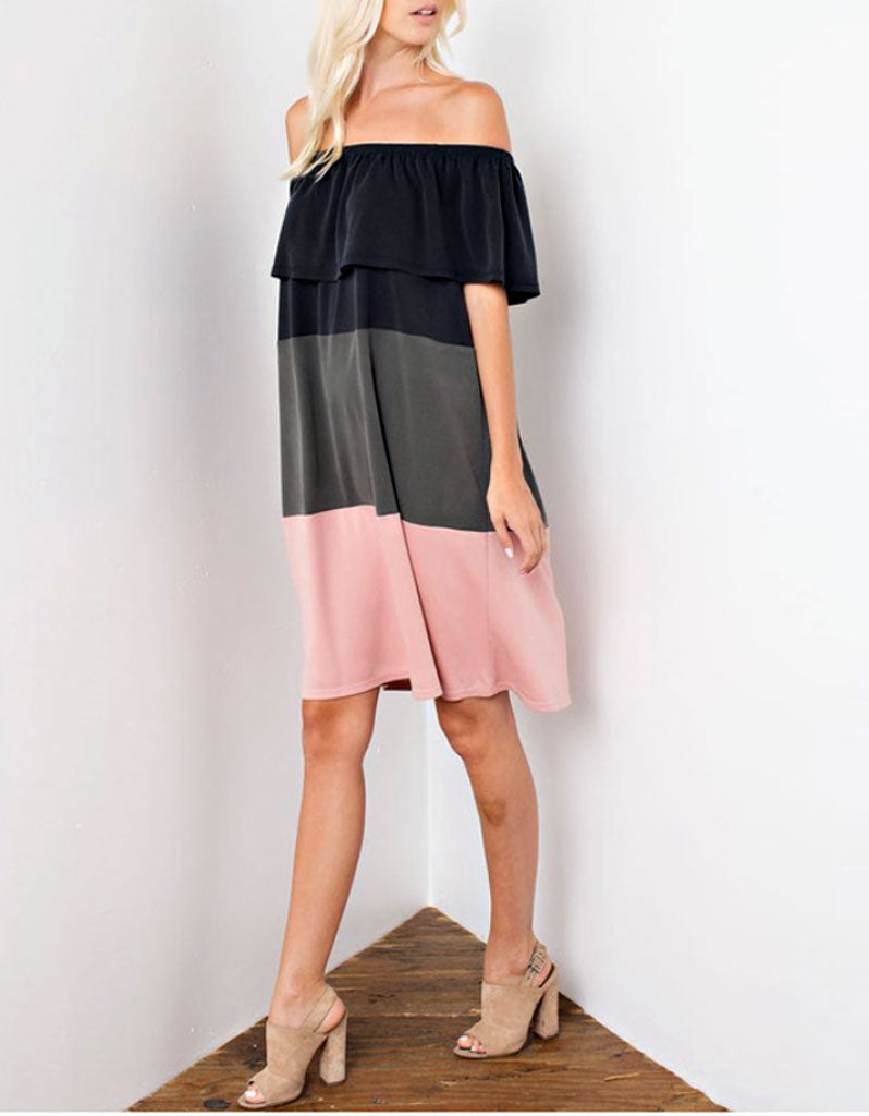 Off The Shoulder Color Block Dress in Charcoal/Olive/Pink