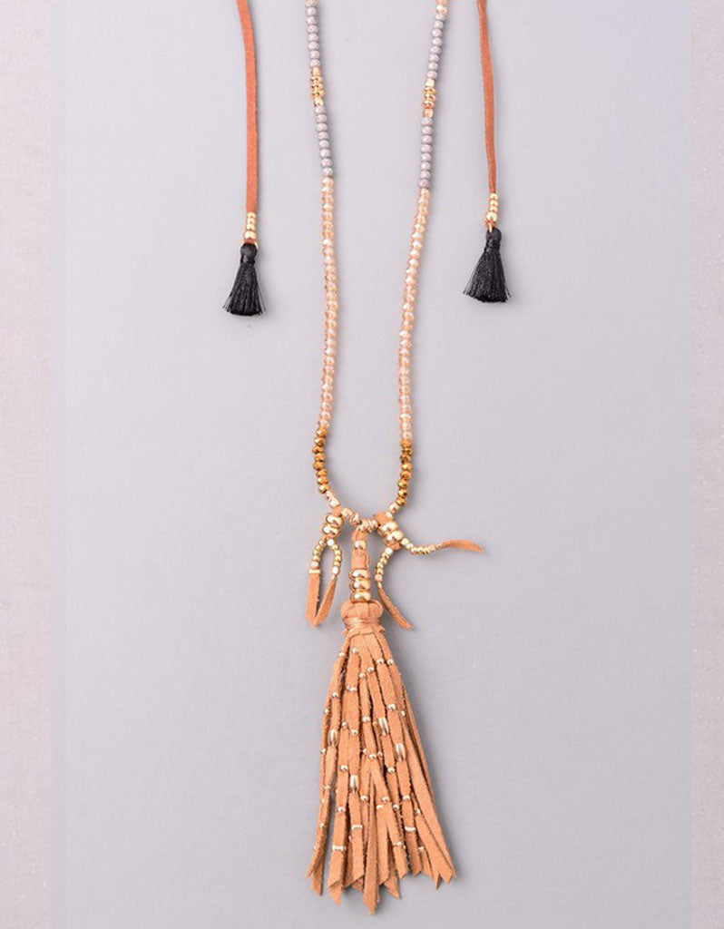 Vintage Snoot Samar Necklace with Studded Fringe in Camel