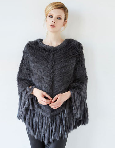 Arielle Tassel Poncho in Dark Grey