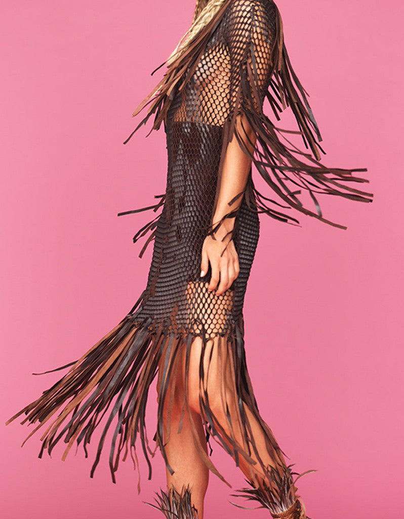 Tete by Odette Leather Fringe Dress