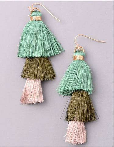Vintage Snoot Tiered Tassel Earrings in Green
