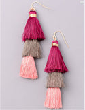 VINTAGE-SNOOT-TIERED-TASSEL-EARRINGS-PINK-BURGUNDY