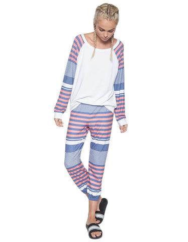 Michael Lauren Nate Crop Pant in Waypoint Stripe