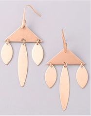 Vintage Snoot Triangle Chandelier Earrings in Gold