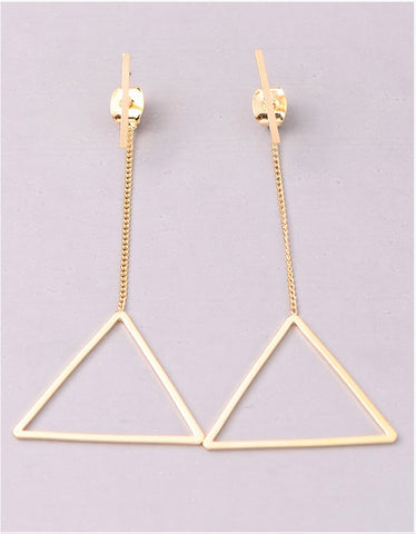 Vintage Snoot Triangle Drop Earrings in Gold
