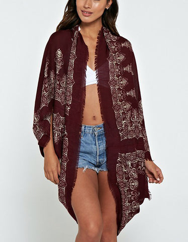 Trophy Wife Cocoon Cape in Merlot/Bone