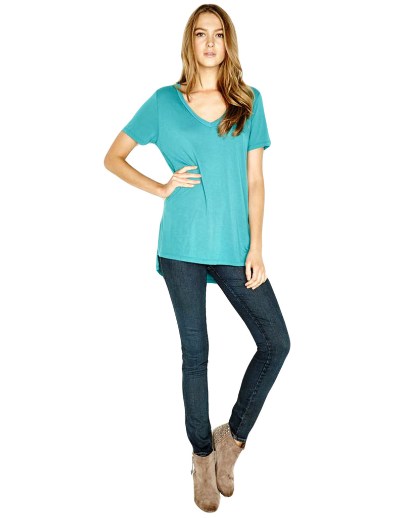Michael Lauren Tennessee V-Neck Top in Lagoon - SWANK - Tops - 3
