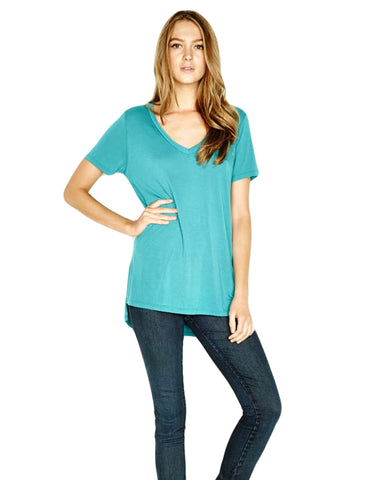 Michael Lauren Tennessee V-Neck Top in Lagoon