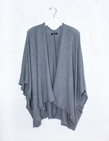 Michael Lauren Draco Oversized Distressed Pullover in Heather Grey