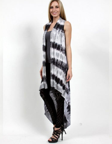 Overtime Hi-Low Long Tie-Dye Vest in Charcoal