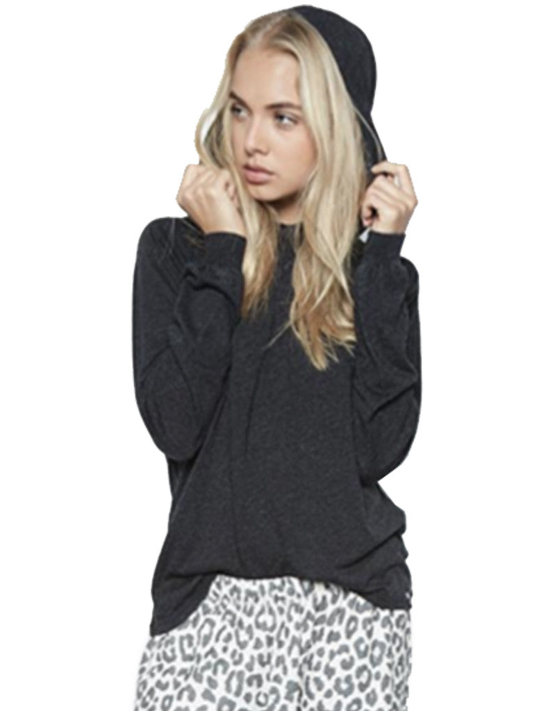 Michael Lauren Trevor Draped Pullover w/Hood in Black Burnout - SWANK - Tops - 2