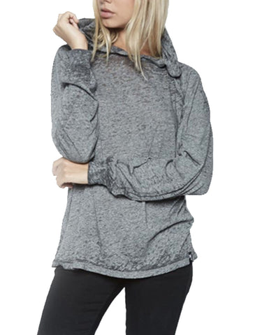 Michael Lauren Trevor Draped Pullover w/Hood in Heather Grey Burnout