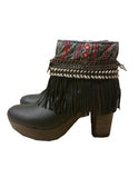 Boho Custom Made High Heel Boots - Black - SWANK - Shoes - 13