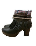 Boho Custom Made High Heel Boots - Black - SWANK - Shoes - 14