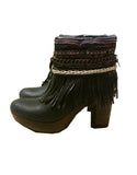 Boho Custom Made High Heel Boots - Black - SWANK - Shoes - 18