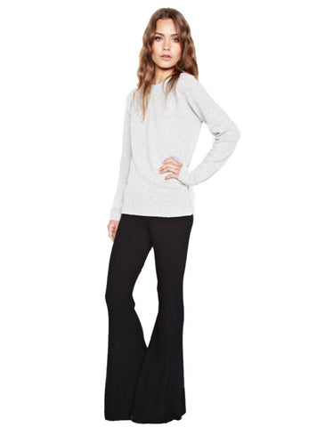 Michael Lauren Van Ribbed Bell Pant in Black