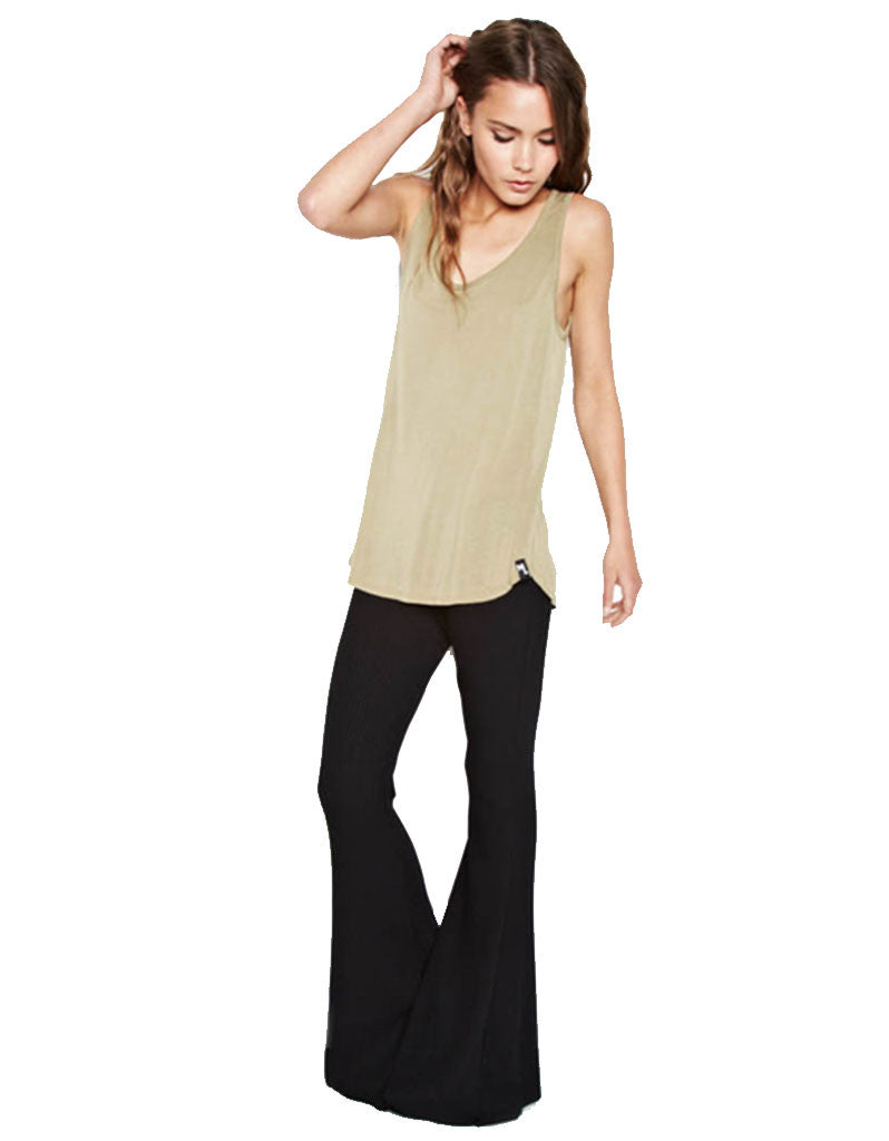 Michael Lauren Van Ribbed Bell Pant in Black - SWANK - Pants - 1
