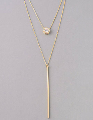 Luxe Oval Double Y Necklace in Gold