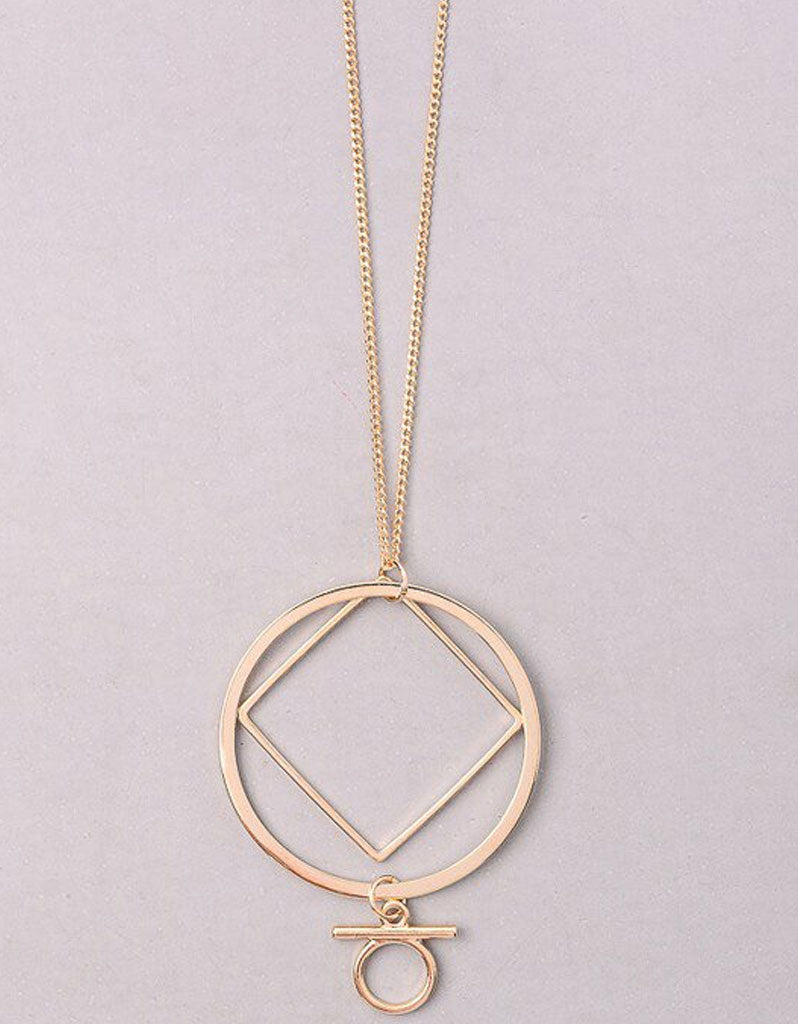 Vintage Snoot Deco Orbital Believer Necklace in Gold