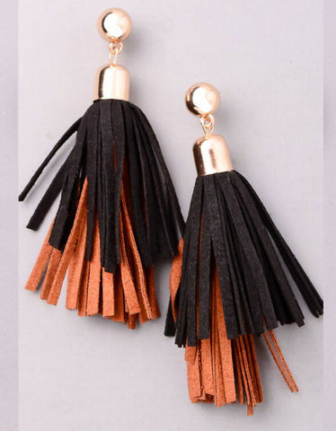 Vintage Snoot Dual Tassel Earrings in Black