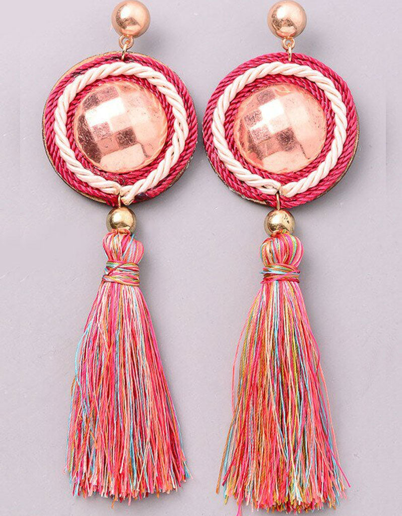 Bon Bon Earrings in Rose Gold and Multi-Color Tassels