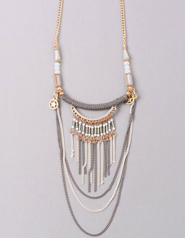 Paltrow Pave Beaded Fringe Tassel Necklace in Black
