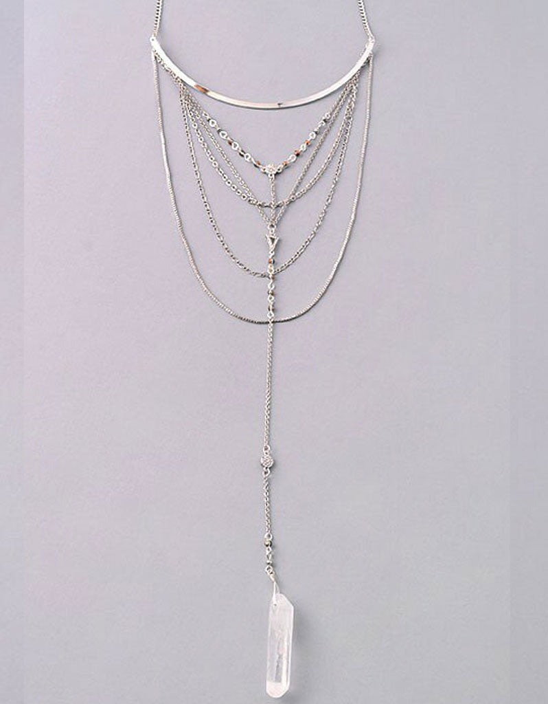 Vintage Snoot Lavish Layered Stone Necklace in Antique Silver