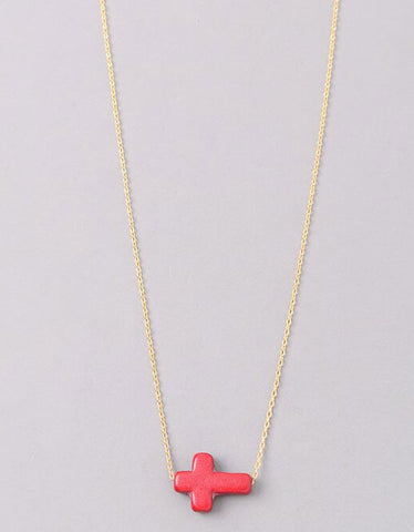 Vintage Snoot Cross Necklace in Gold/Red
