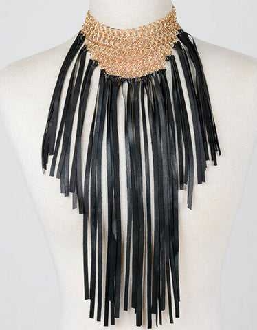 Capazonia Fidji Mini Fringe Clutch in Black Snakeskin